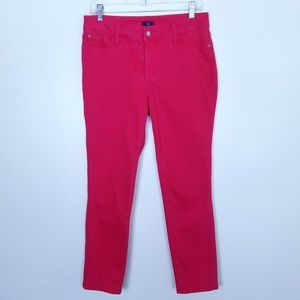 NYDJ Ankle Skinny Fit in Bright Pink Jeans, Size 8